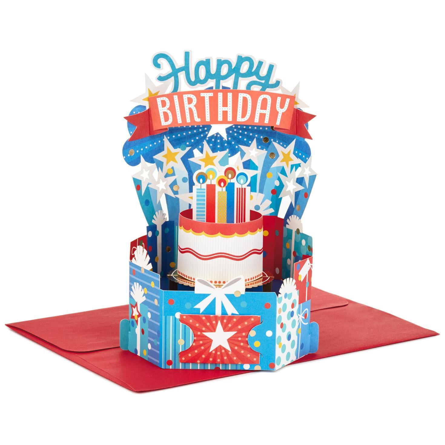 Colorful Birthday Celebration Pop Up Birthday Card Greeting – Pop Up Birthday Cake Card