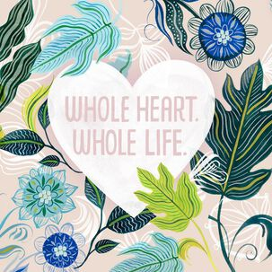 Blue Flowers Whole Heart, Whole Life Wedding Card