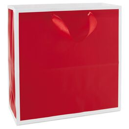 "Scarlet Red Large Square Gift Bag, 10.5"", , large"