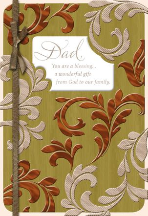 Embossed Foil Leaves Religious Birthday Card for Dad