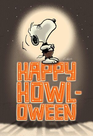 Werewolf Snoopy Howls at the Moon Halloween Card