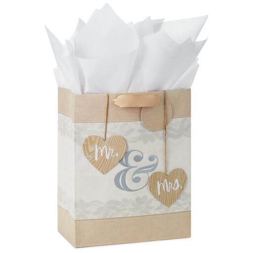 Mr And Mrs Large Gift Bag With Tag Tissue 13
