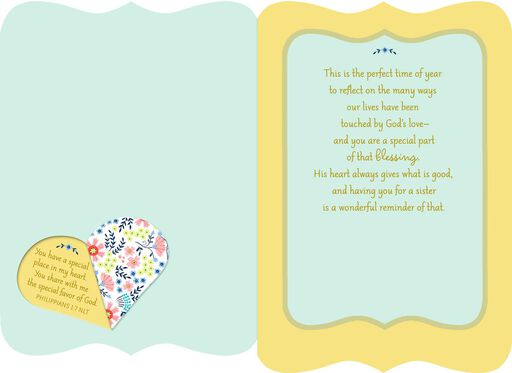 Special Place in My Heart Religious Easter Card for Sister,