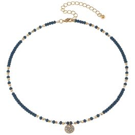 Navy Beaded Choker With Pavé Disc, , large