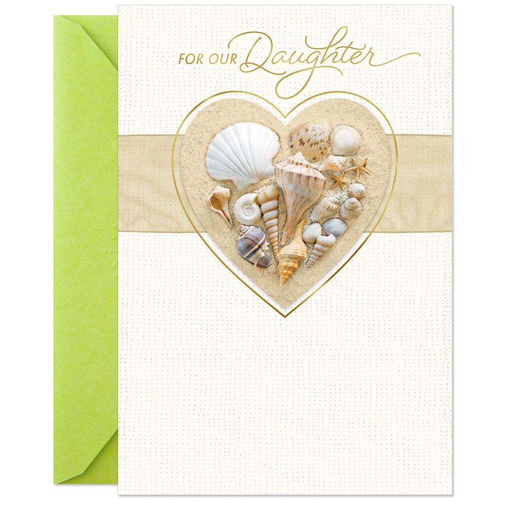 Heart Shaped Shells Birthday Card For Daughter From Parents