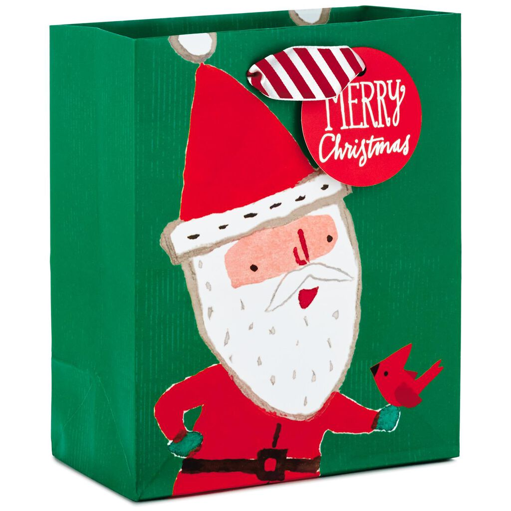 Santa With Cardinal Small Christmas Gift Bag, 6.5\