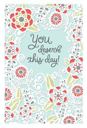 Laser-cut Floral Design Mother's Day Card