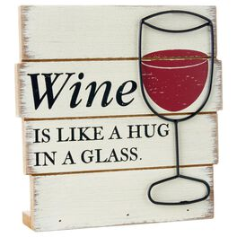 Hug in a Glass Rustic Wood Sign, , large