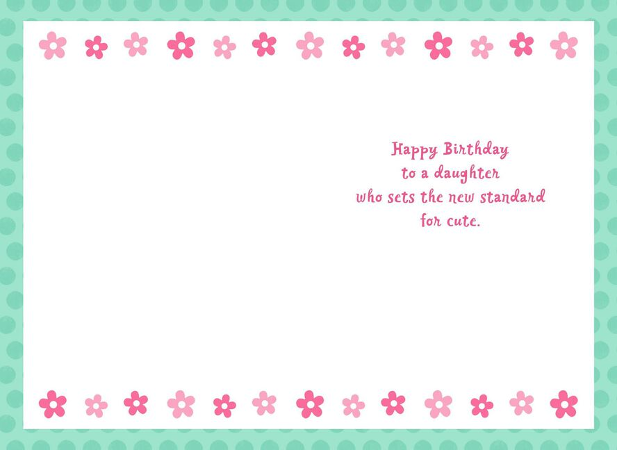 White Puppy With Pink Bow Birthday Card For Daughter Greeting