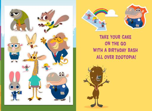 Disney Zootopia Birthday Bash Card with Stickers,