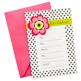 Flower With Polka Dots Invitations, Pack of 10, , large