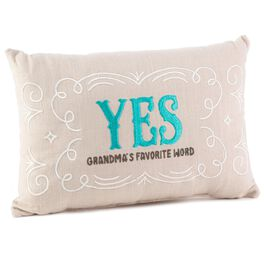 Yes/No Reversible Decorative Grandma Pillow, , large