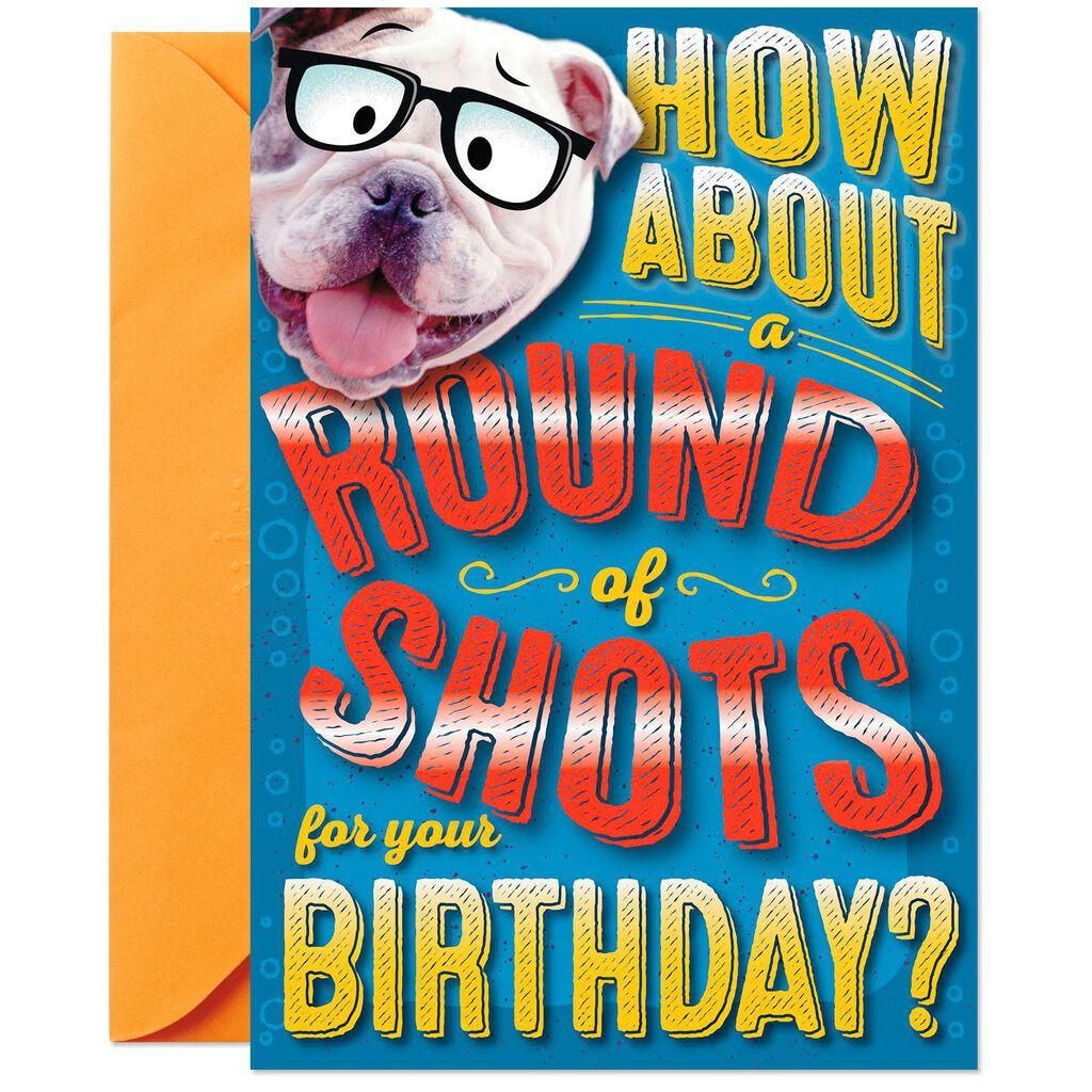 Round Of Shots Pop Up Birthday Card