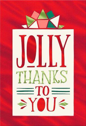 Jolly Thanks Blank Christmas Card
