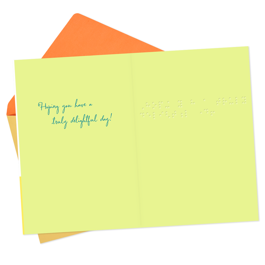 Truly Delightful Day Braille Birthday Card