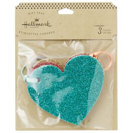 Glitter Heart Gift Tags, Pack of 3, , large