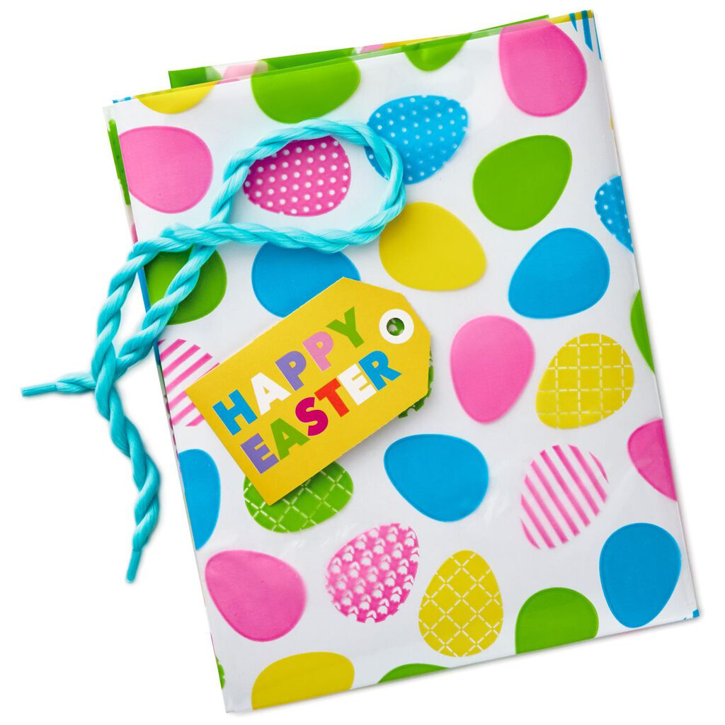 Easter basket bag with tag and tie 24 gift bags hallmark easter basket bag with tag and tie negle Images