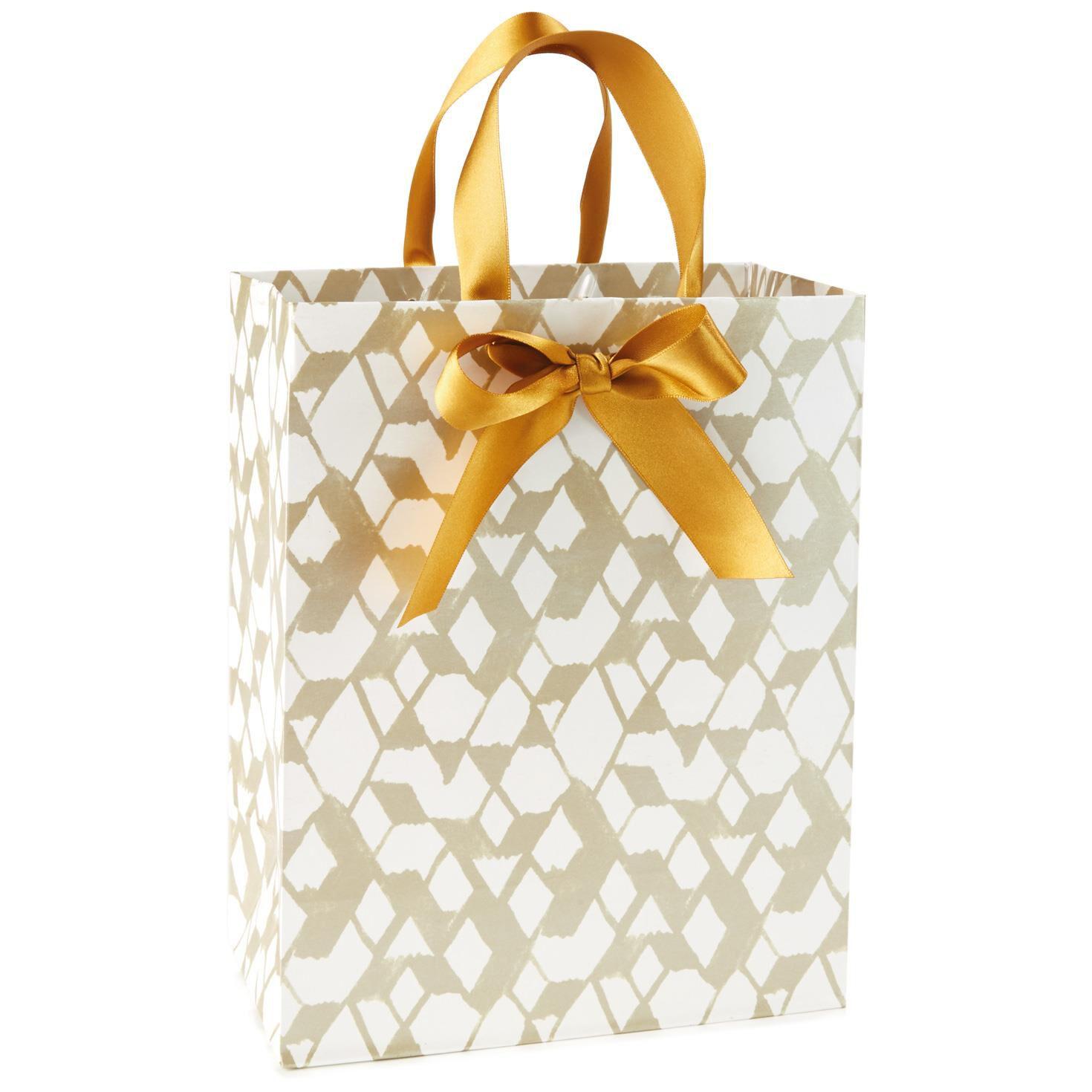 Geometric Gold and White Medium Gift Bag, 9.5\