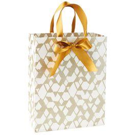 "Geometric Gold and White Medium Gift Bag, 9.5"", , large"