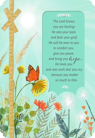 Sunshine With Butterfly and Flowers Religious Sympathy Card