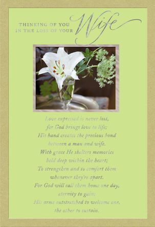 White Lily Religious Sympathy Card for Loss of Wife