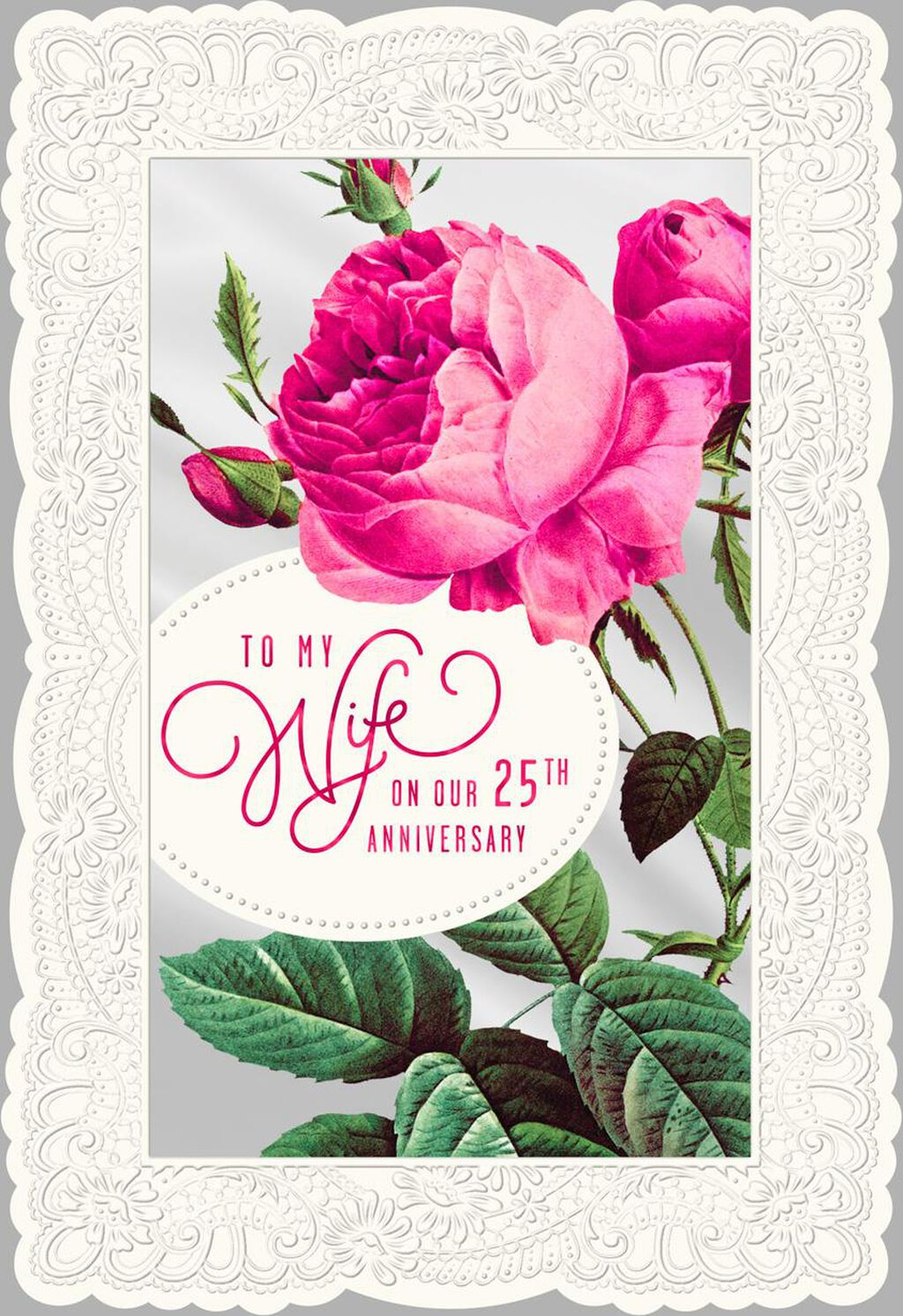 Pink Peony Flower 25th Anniversary Card For Wife Greeting Cards