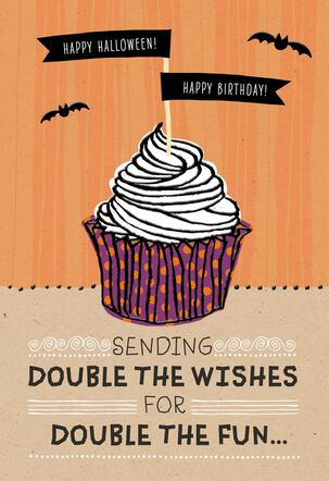 Halloween Birthday Cupcake Halloween Card