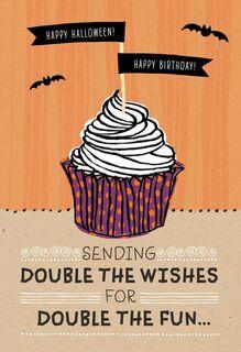 Halloween Birthday Cupcake Halloween Card,