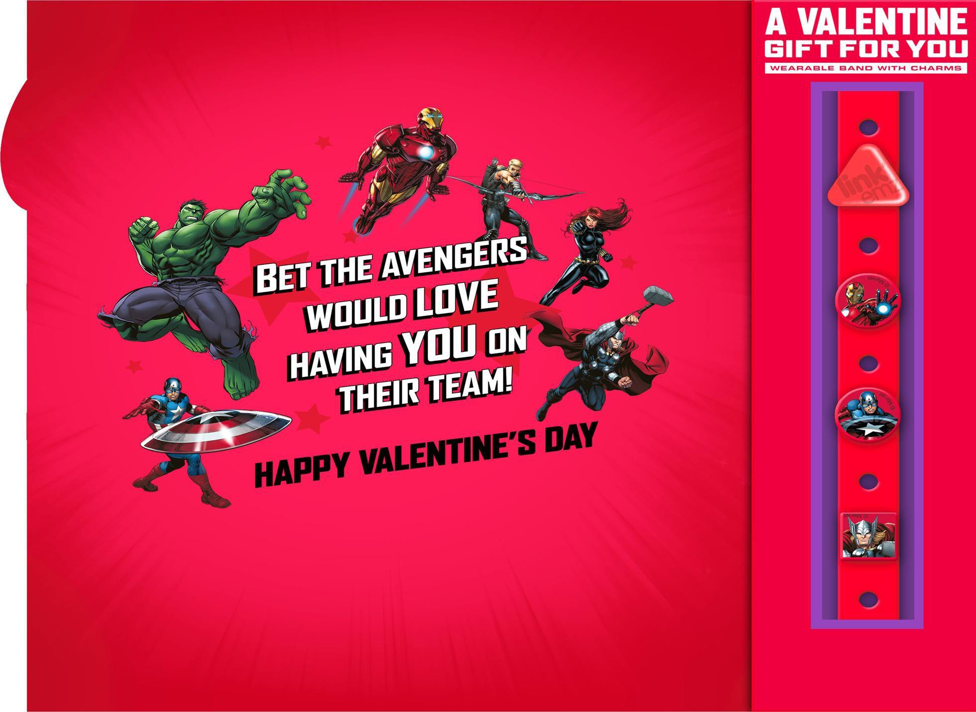 Marvel Avengers Valentineu0027s Day Card With Linku0027emz Wristband,