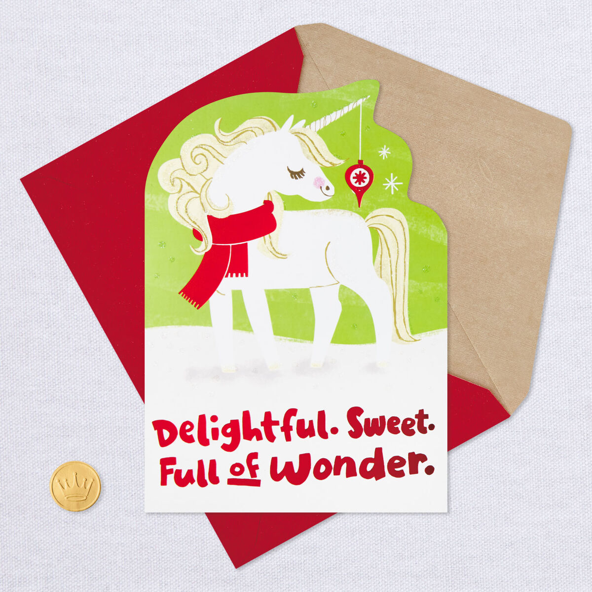 glittery unicorn baby's 1st christmas card  greeting