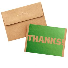 Green Foil on Kraft Thank You Notes, Box of 50, , large