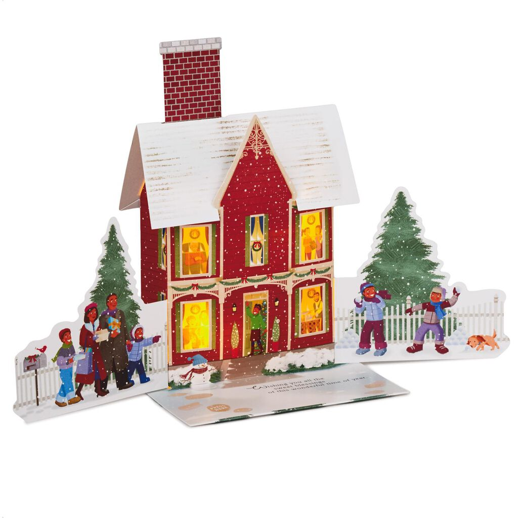 Cozy House Pop Up Musical Christmas Card With Light Greeting Cards