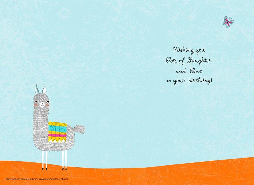 Llama Laughter And Love Birthday Card