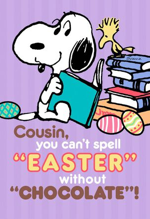 Peanuts® Snoopy Chocolate Candy Easter Card For Cousin