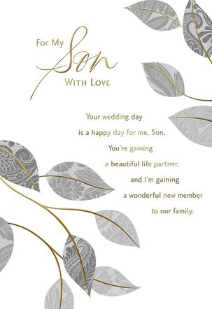 Silver Leaves Wedding Card for Son
