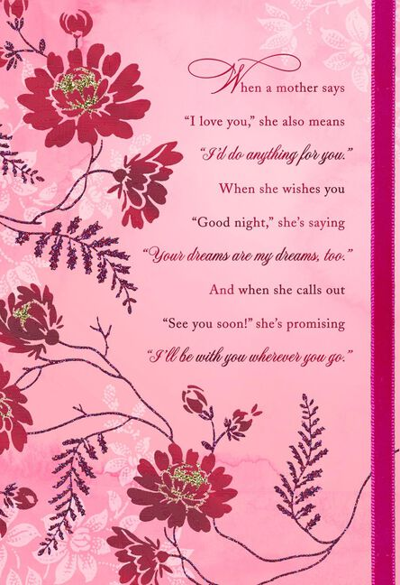 The true meaning of moms words mothers day card greeting cards the true meaning of moms words mothers m4hsunfo