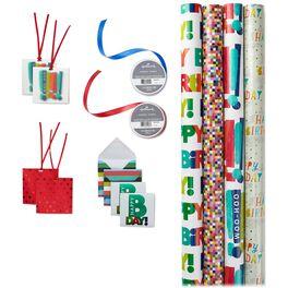 Colorful Birthday Gift Wrap Kit, , large