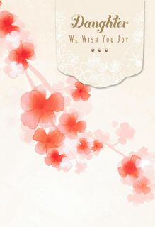 Cherry Blossoms Wedding Card for Daughter From Both,