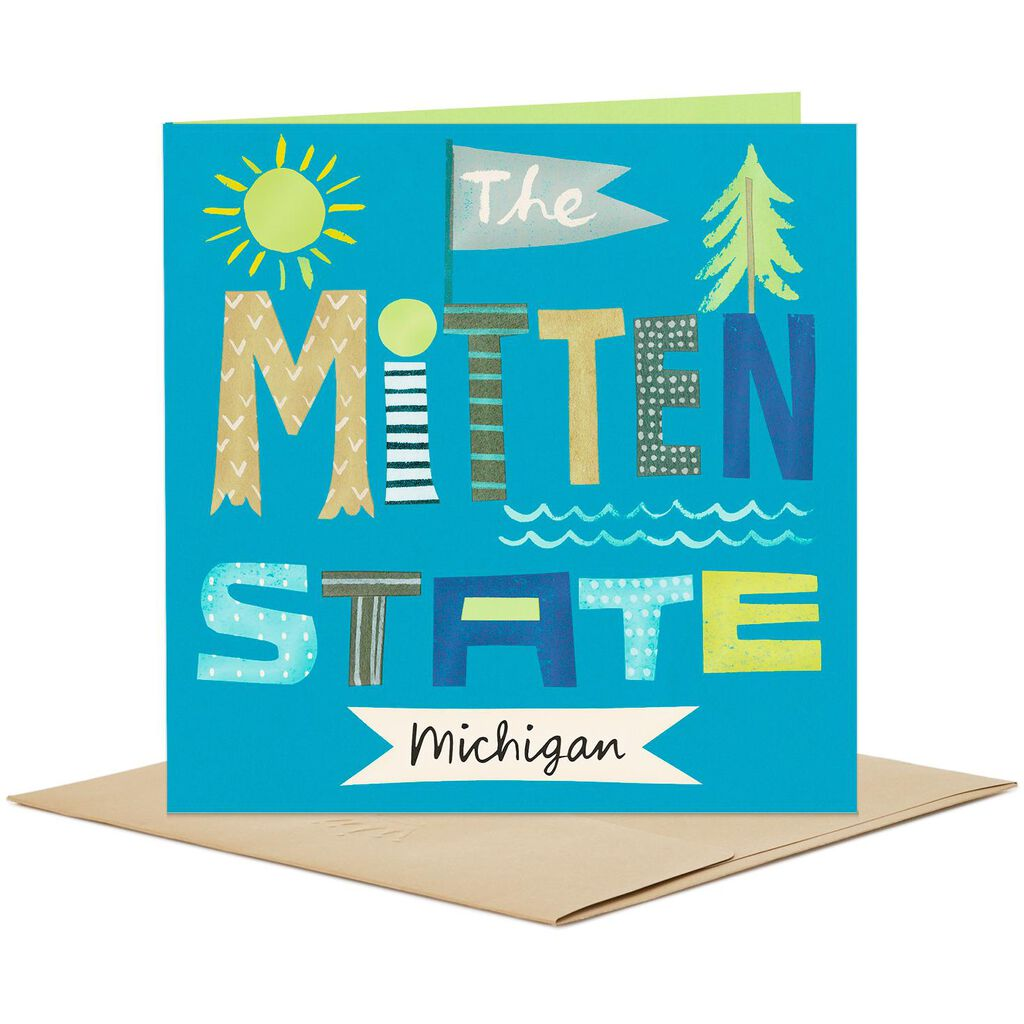 Michigan The Mitten State Blank Card Greeting Cards Hallmark