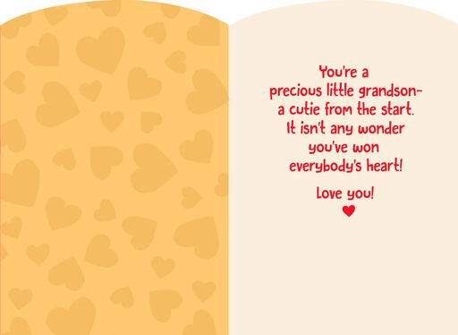 Baby's First Valentine's Day Card for Grandson,
