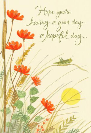 Grasshopper in a Field of Flowers Encouragement Card