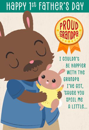 Bunny Love Father's Day Card With Button for Grandfather