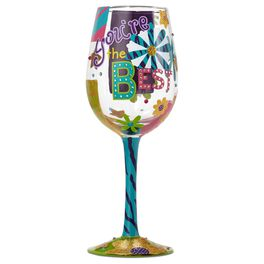 Lolita® You're the Best Handpainted Wine Glass, 15 oz., , large