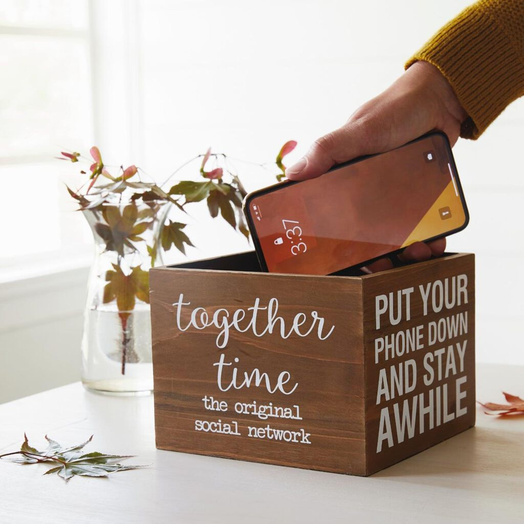40aedb38dffae Together Time Cell Phone Wooden Box, 6.75x6.75