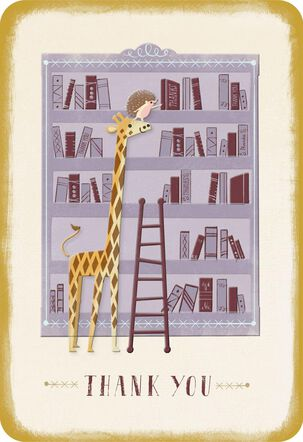 Giraffe and Bookshelf Thank You Card