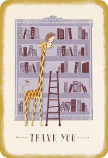 Giraffe and Bookshelf Thank You Card,
