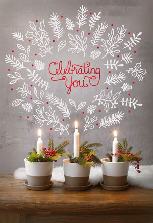 Candles Celebrating You December 25th Birthday Christmas Card