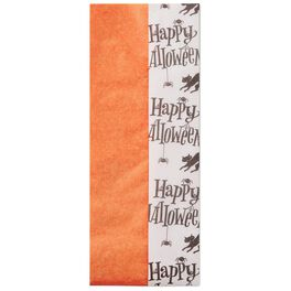 Happy Halloween and Solid Orange 2-Pack Tissue Paper, 6 Sheets, , large