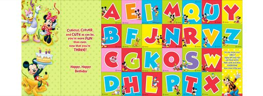 Mickey Mouse 3rd Birthday Card With Flash Cards,