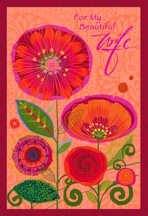 Heart in Bloom Wife Mother's Day Card